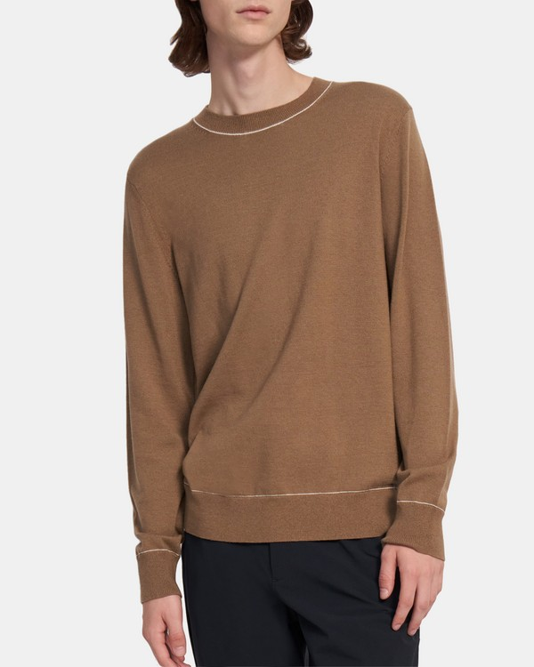 Tipped Crewneck Sweater in Cotton-Wool