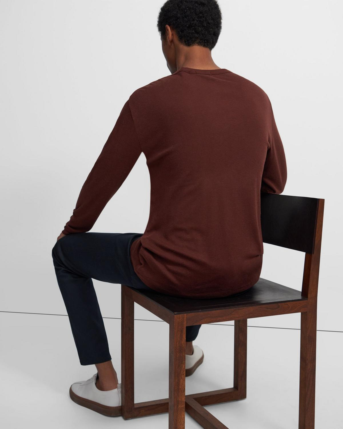 Henley Shirt in Ribbed Cotton-Alpaca