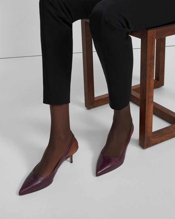 20FW 띠어리 씨티 55 슬링백, 리자드 프린트 - 2 컬러 Theory City 55 Slingback in Lizard Print Leather