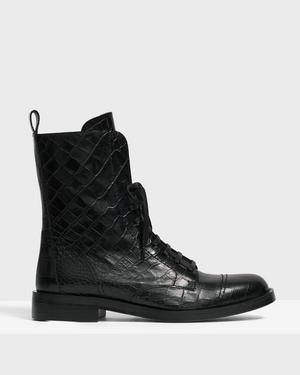 Laced Boot in Crocodile Print Leather