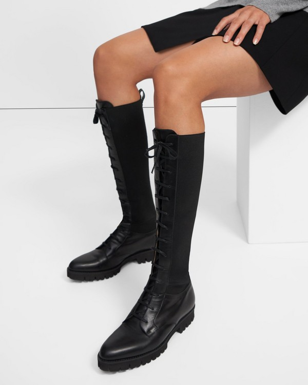 Laced Lug Boot in Leather