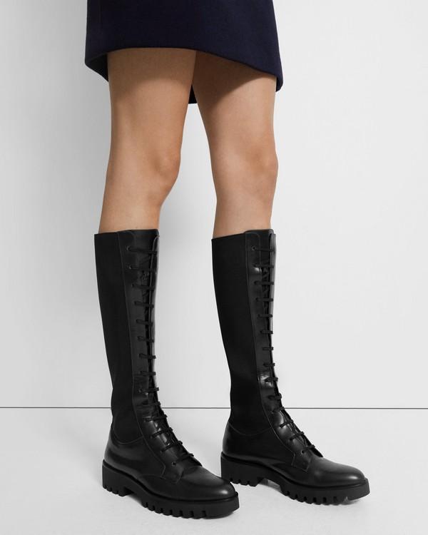 띠어리 Theory Laced Lug Boot in Leather,BLACK