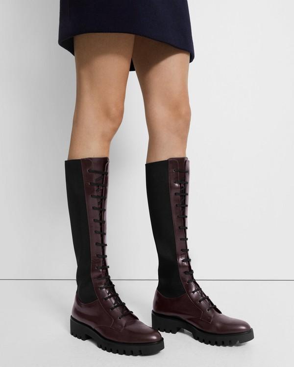 띠어리 Theory Laced Lug Boot in Leather,OXBLOOD