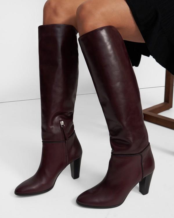 띠어리 Theory Knee Boot in Leather,OXBLOOD
