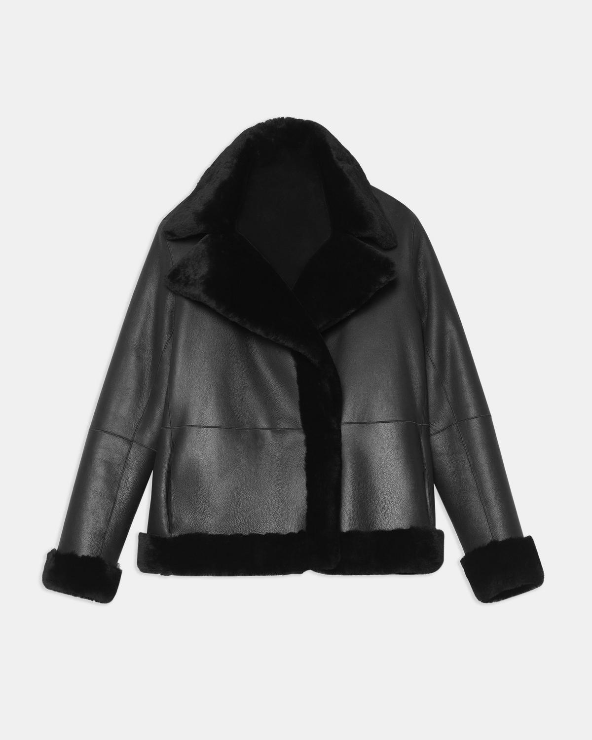Clairene Reversible Moto Jacket in Polished Shearling