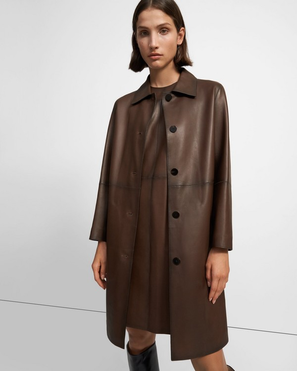 띠어리 Theory Piazza Coat in Leather,BROWN/CHARCOAL MELANGE