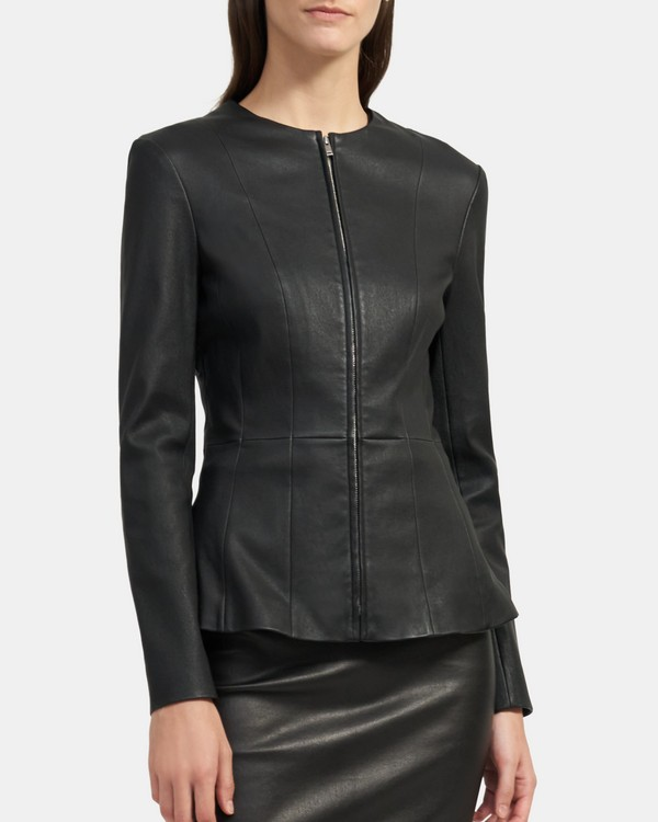 Peplum Jacket in Stretch Leather