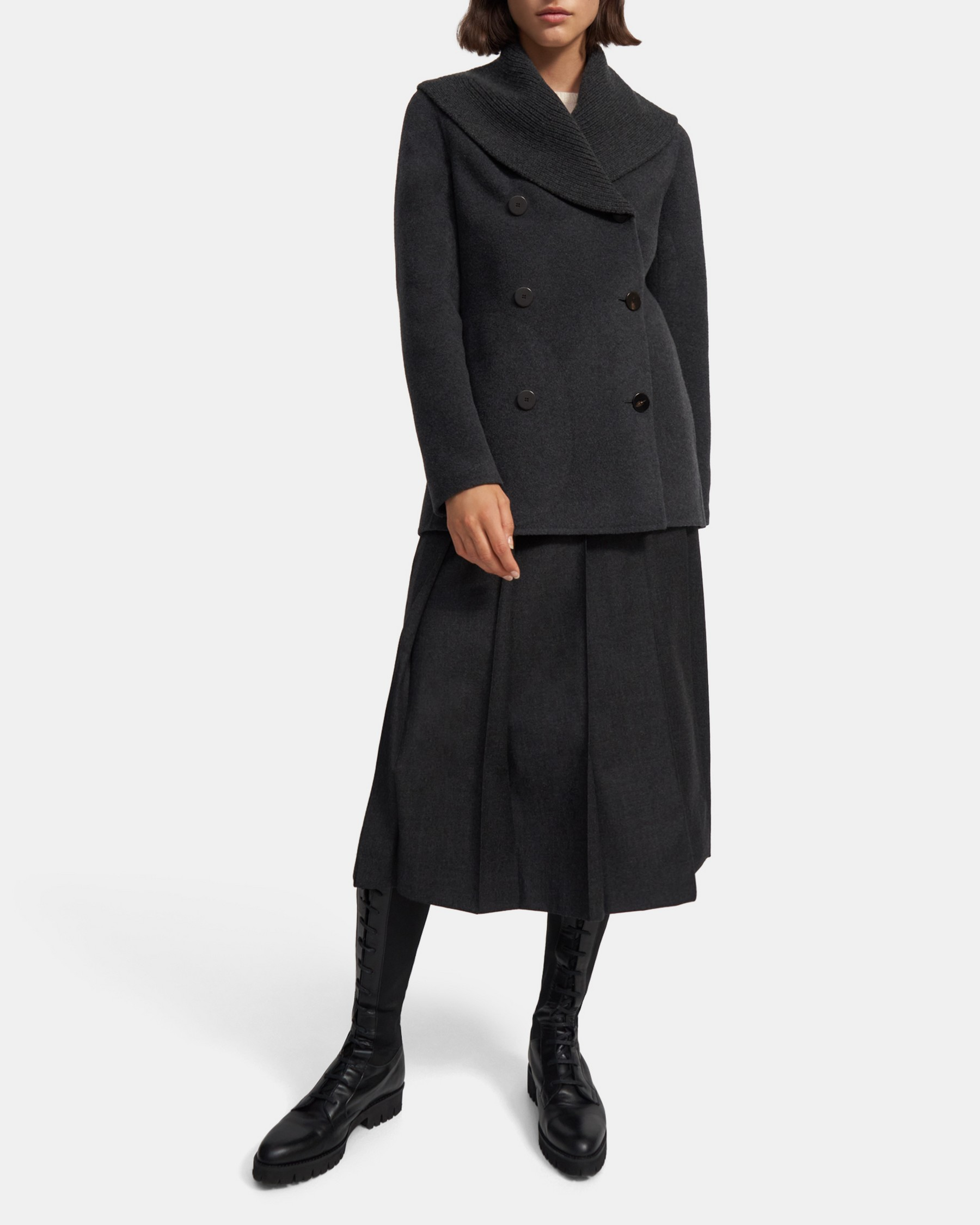 Theory Shawl Peacoat in Wool-Cashmere
