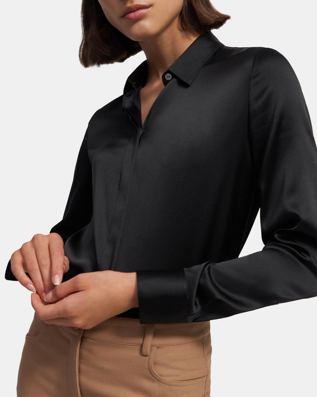 Fitted Shirt in Stretch Satin