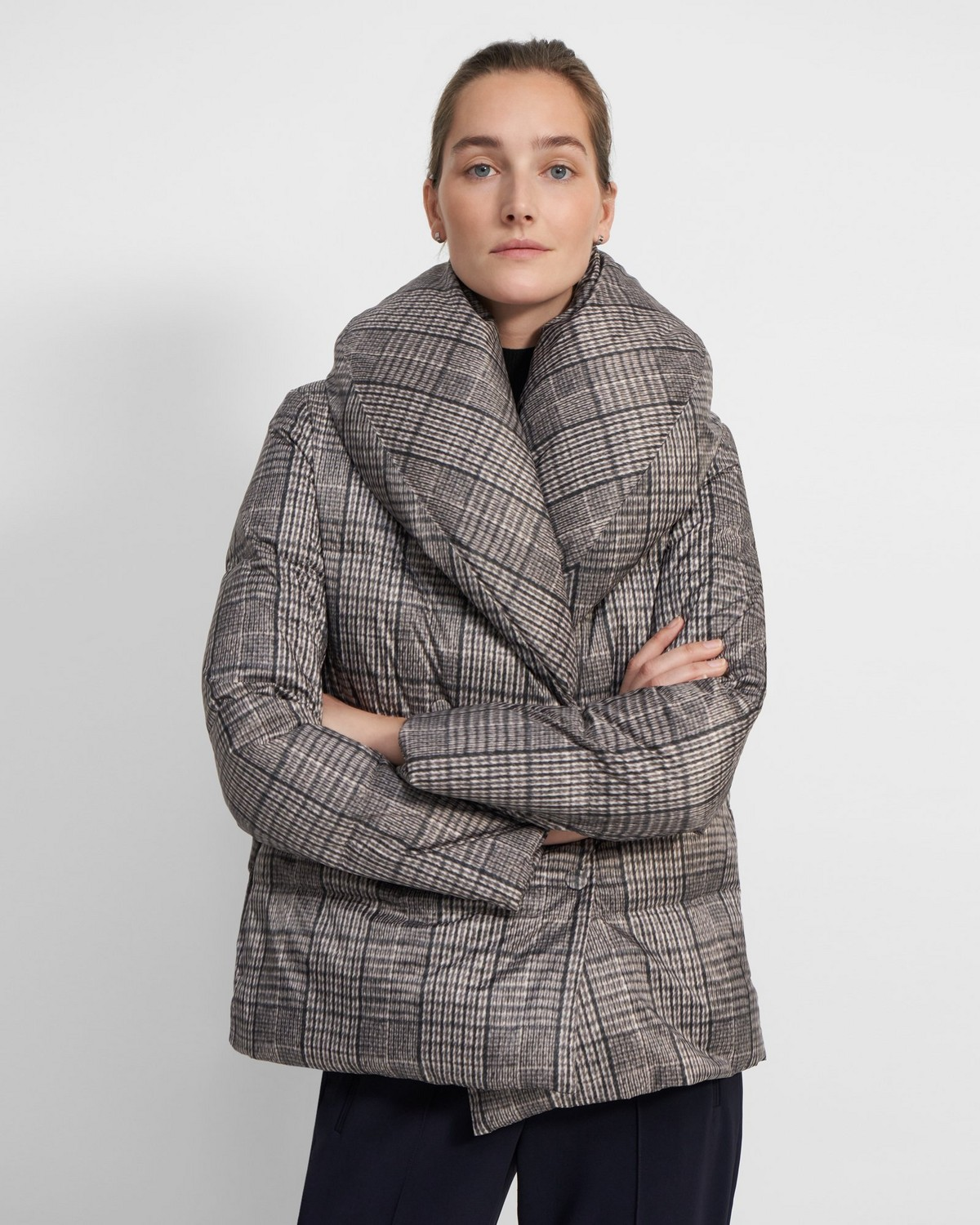 Shawl Puffer Down Jacket in Recycled Plaid