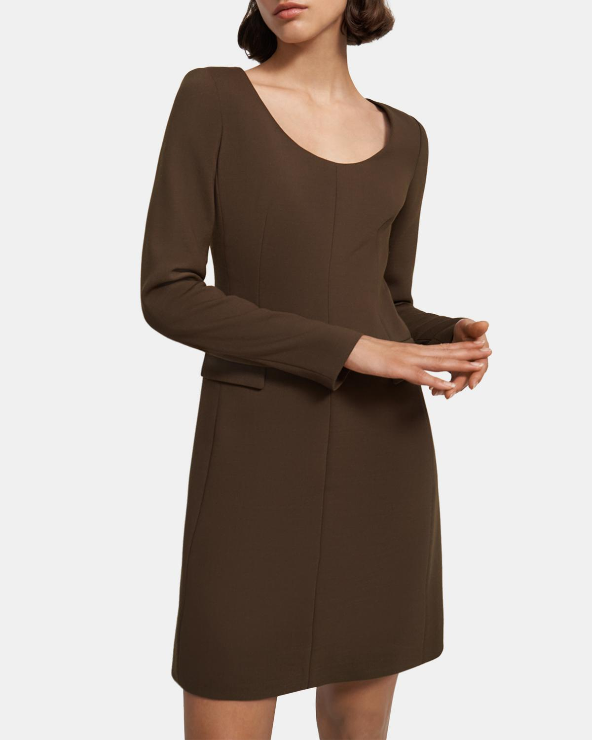 Fitted Open Neck Dress in Utility Wool