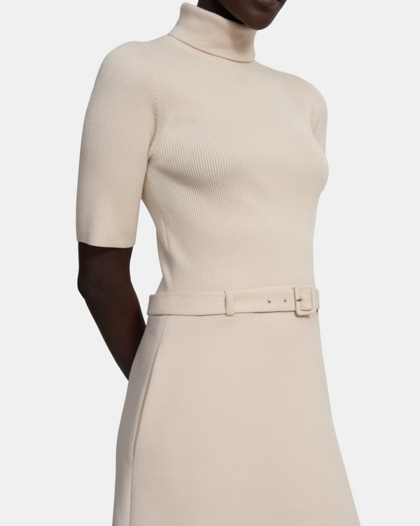 Knit Combo Dress in Utility Wool