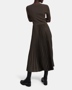 Square Neck Dress in Ribbed Crepe