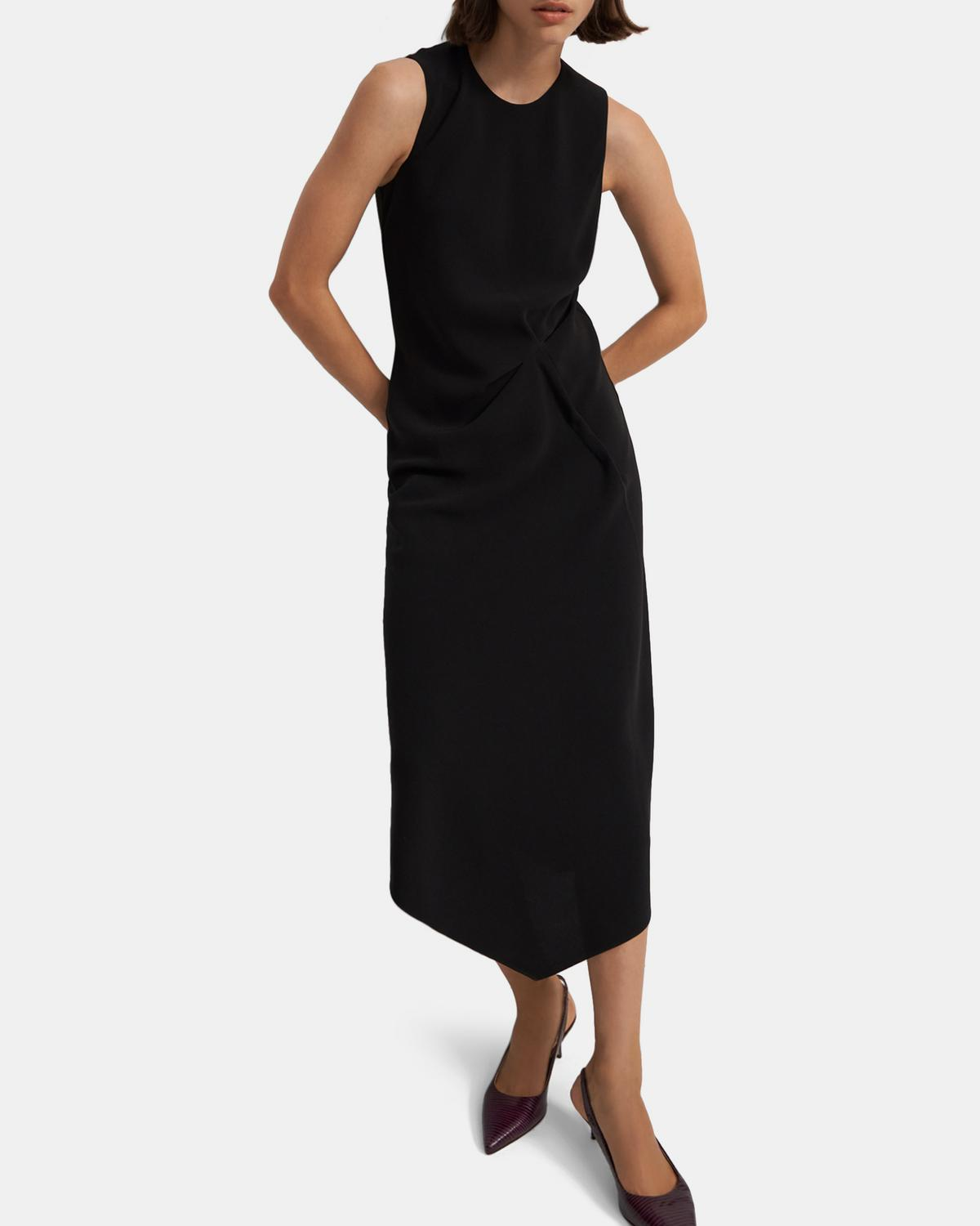 Draped Tuck Dress in Crepe