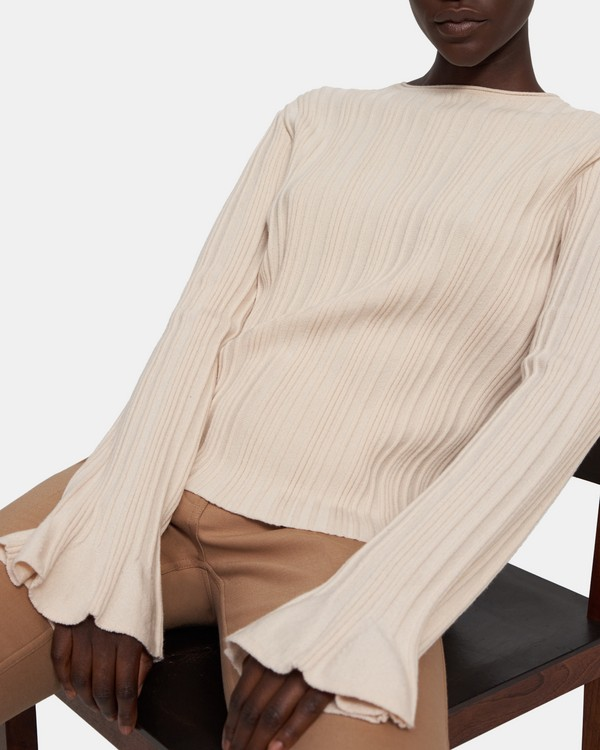 Linear Knit Top in Stretch Wool Blend