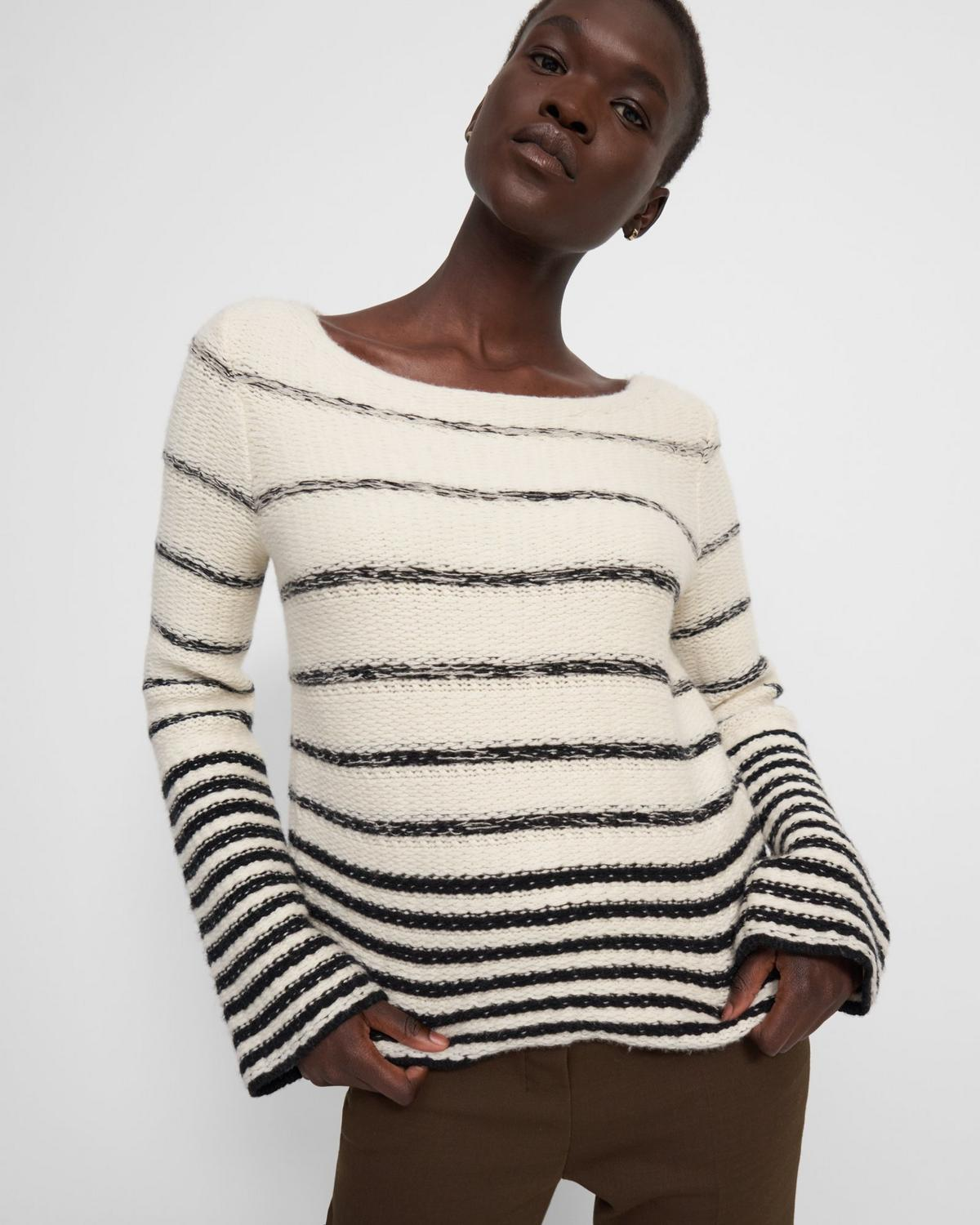 Uneven Stripe Sweater in Wool-Cashmere
