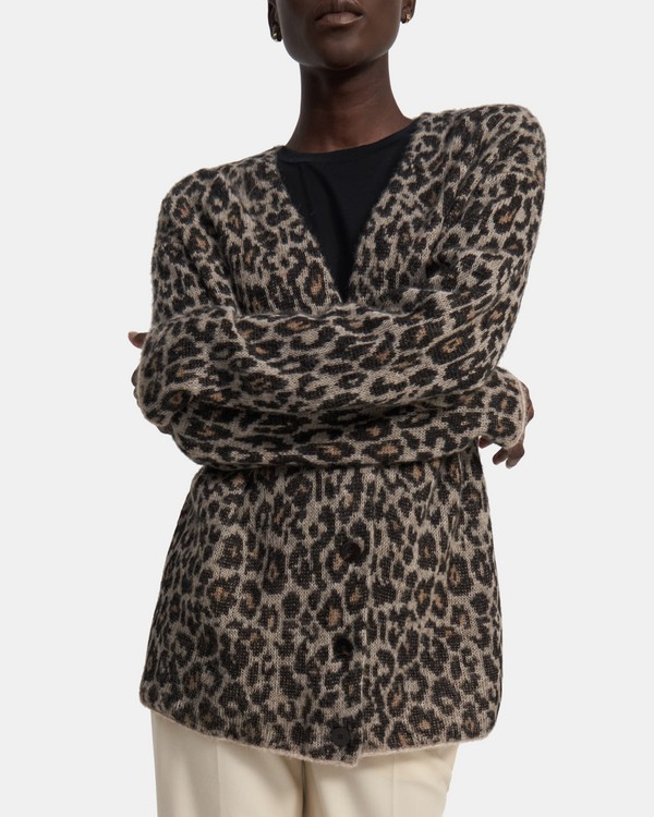20FW 띠어리 레오파드 자카드 가디건, 소프트 알파카 Theory Leopard Jacquard Cardigan in Soft Alpaca