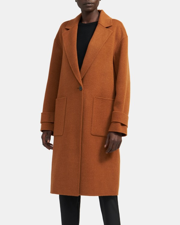Easy One-Button Coat in Double-Face Wool-Cashmere