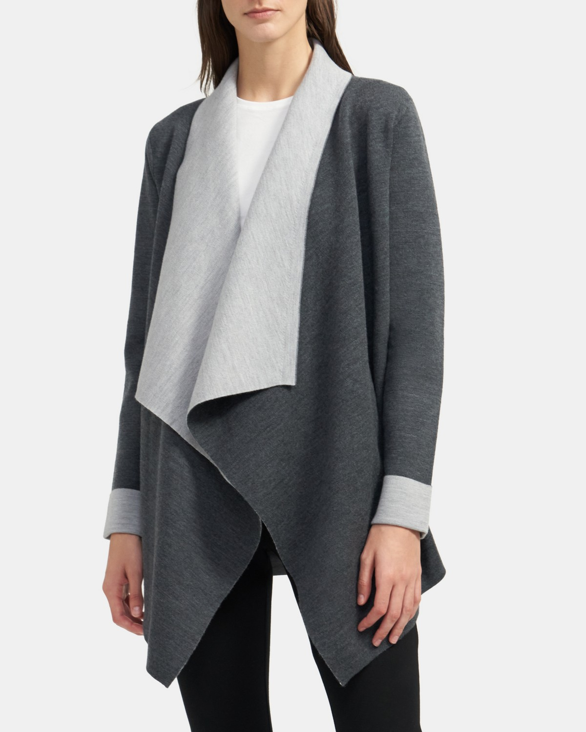 Open Cardigan in Double-Face Wool Blend