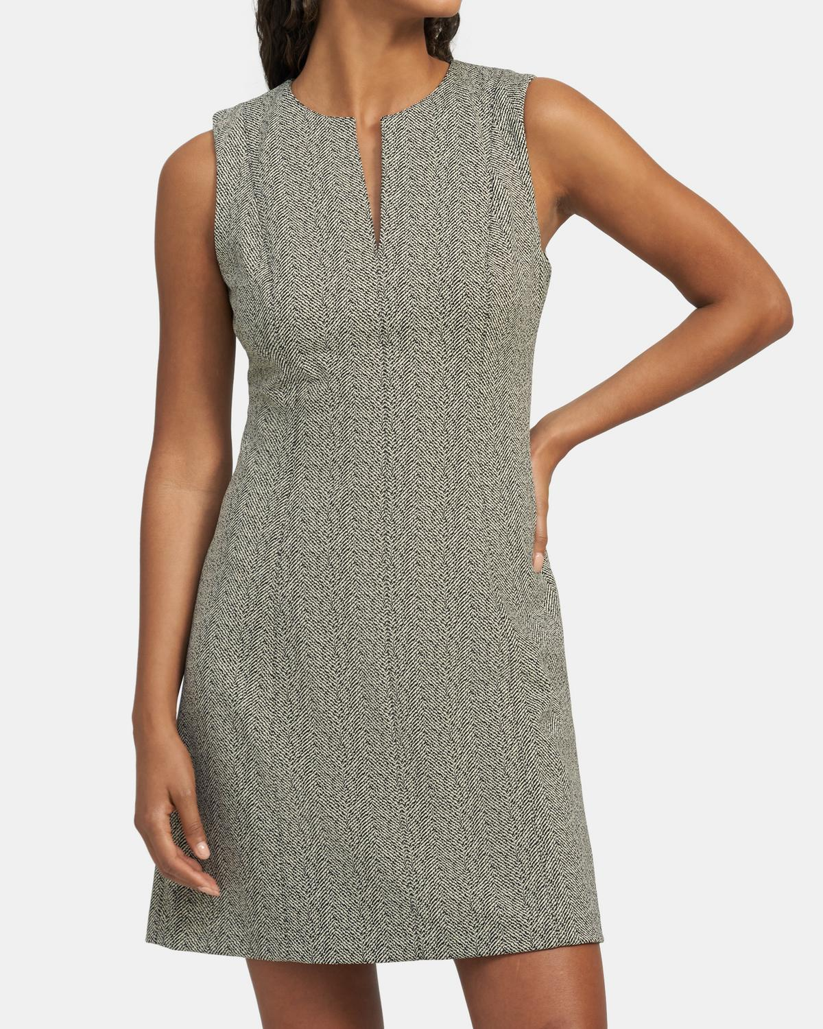 Seamed Volume Dress in Herringbone Knit
