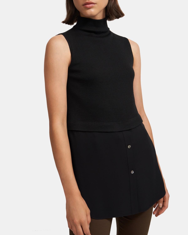 띠어리 튜닉 Theory Sleeveless Combo Tunic in Ribbed Knit,BLACK