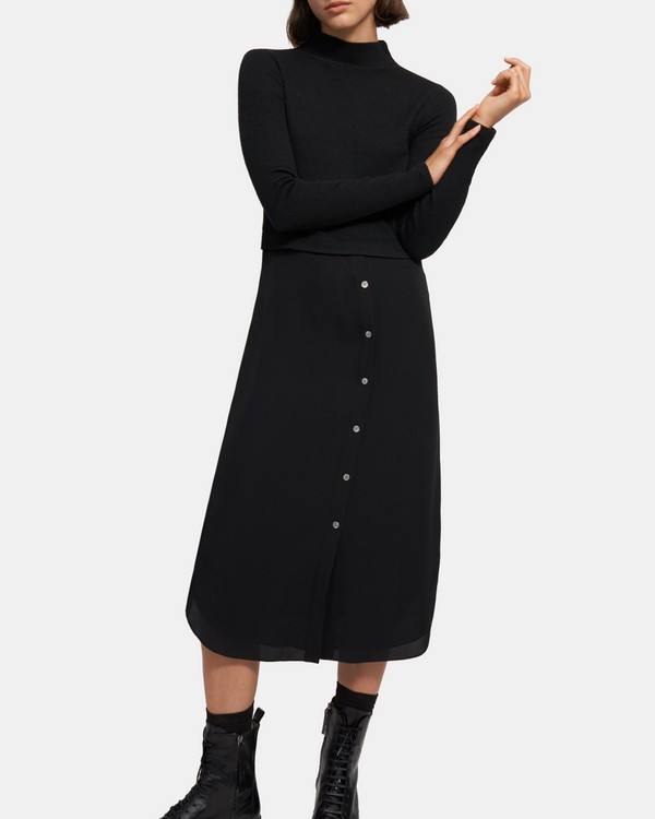 Sweater Combo Dress in Ribbed Knit