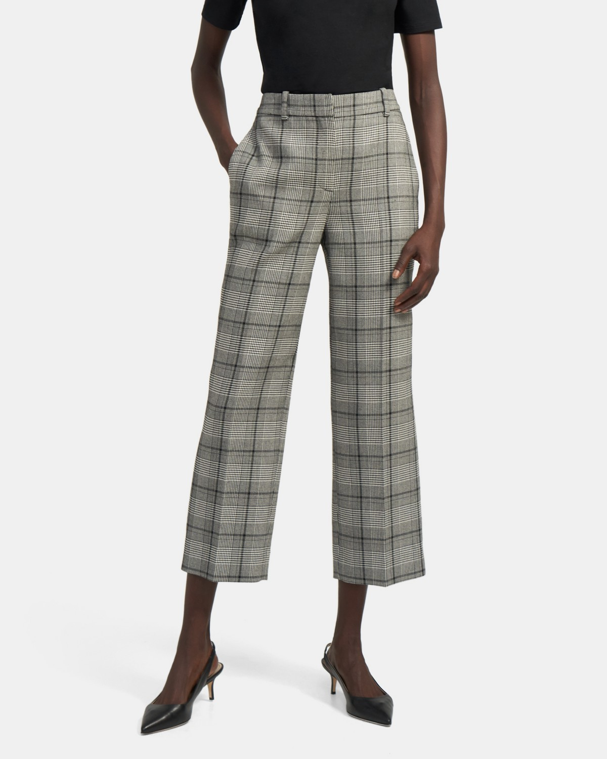 High-Waisted Straight Pant In Plaid