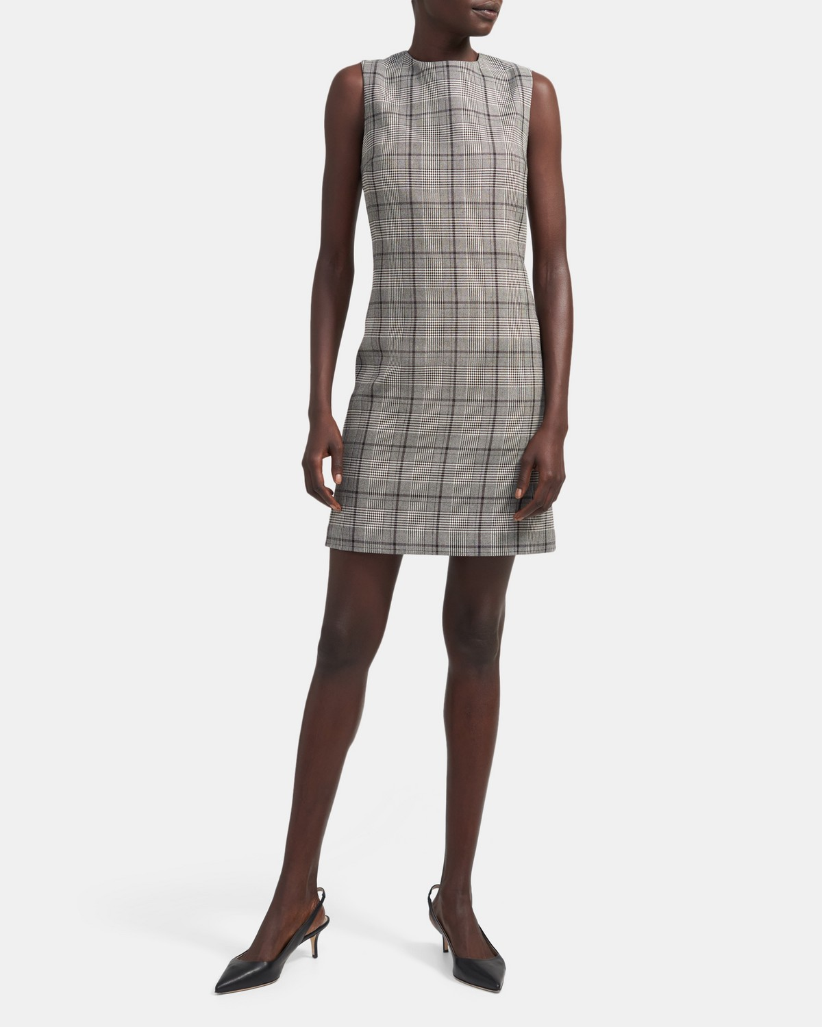 Easy Shift Dress in Plaid Viscose