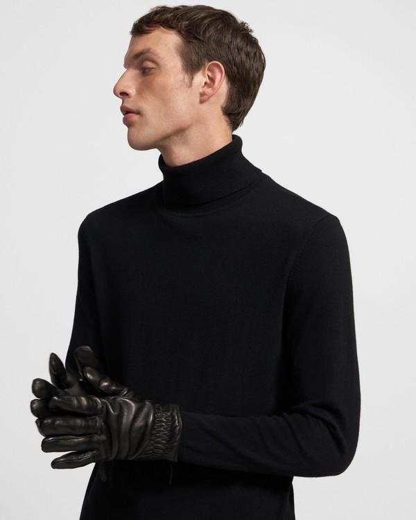 띠어리 맨 짚 가죽 장갑 - 블랙 Theory Zip Gloves in Leather