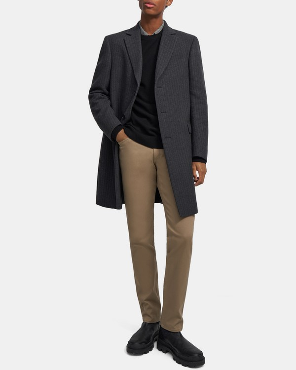 Chambers Coat in Striped Wool Melton