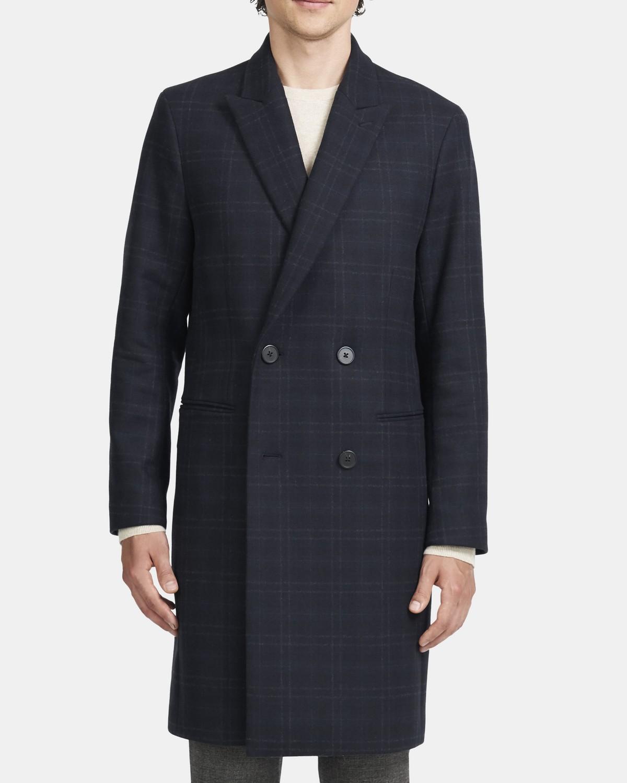띠어리 맨 더블 코트, 플레이드 울 - 발틱 멀티 Theory Double-Breasted Coat in Recycled Plaid Wool