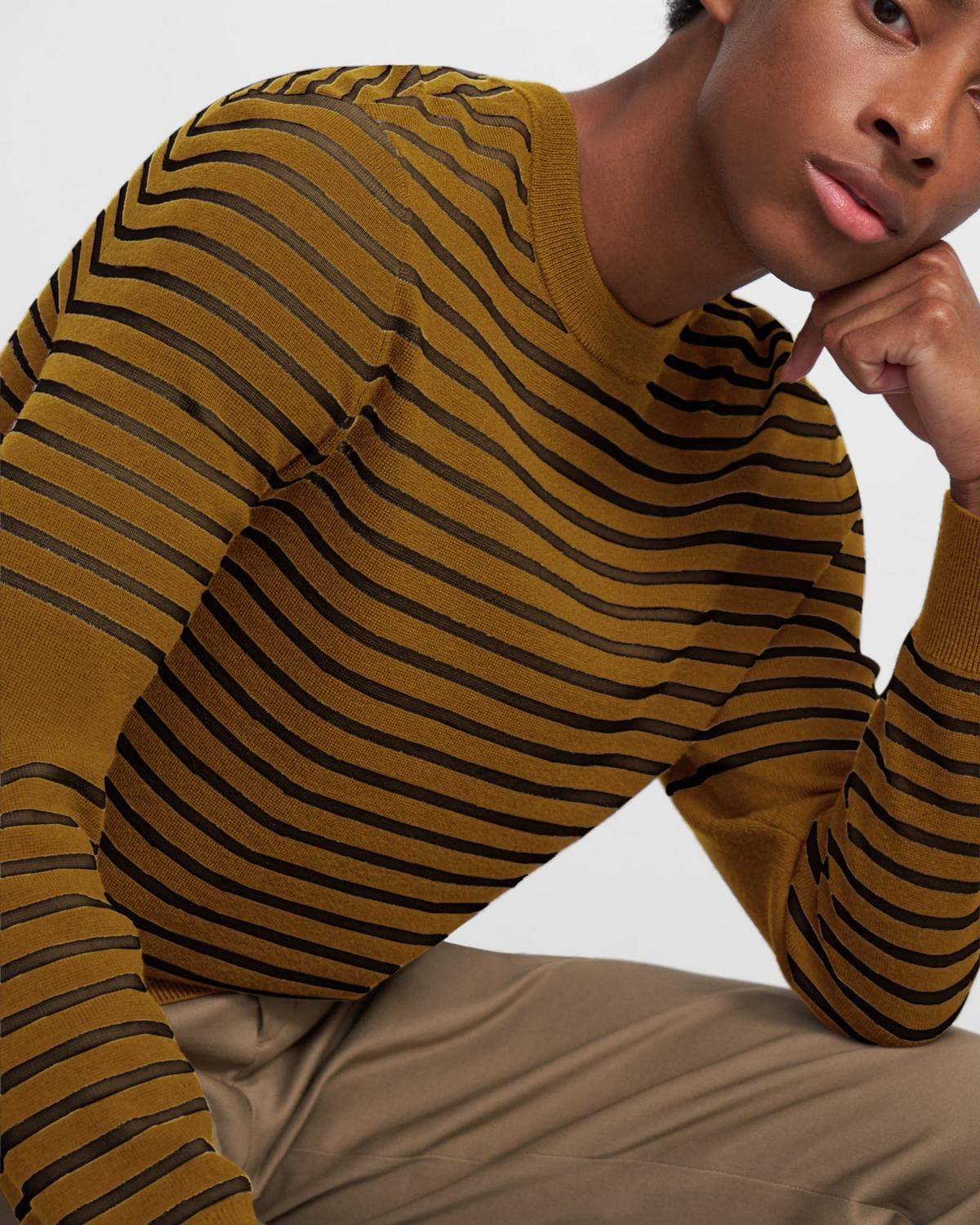 Striped Crewneck Sweater in Merino Wool