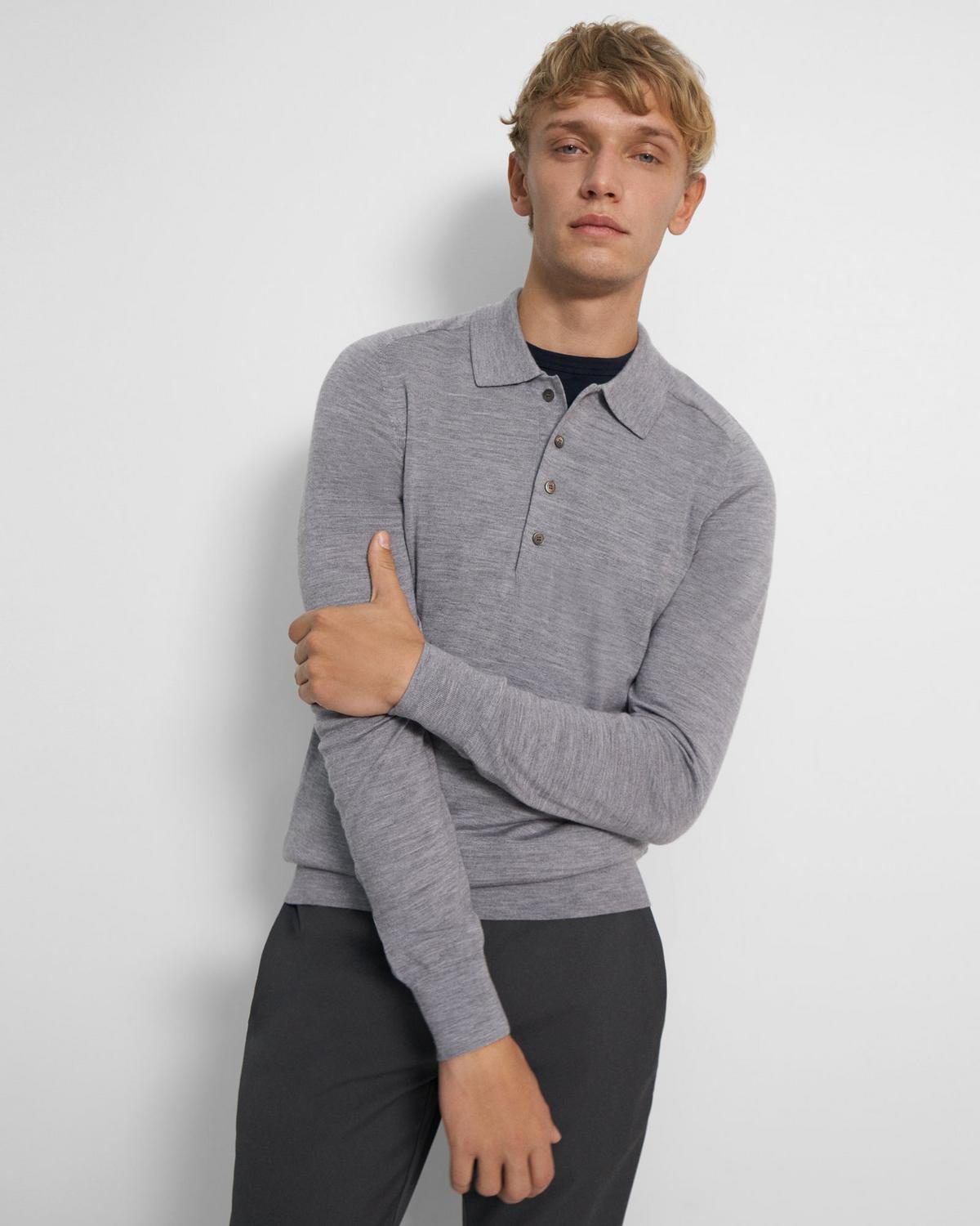 Long-Sleeve Polo Shirt in Regal Wool