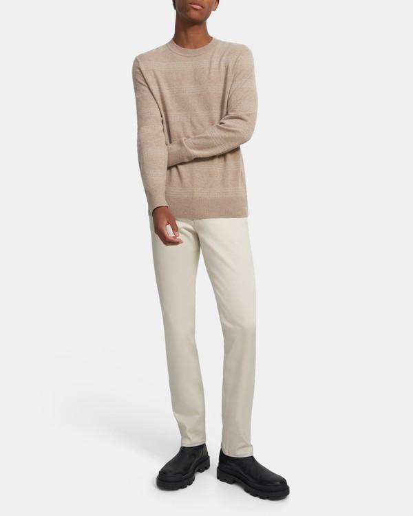 띠어리 맨 스웨터 Theory Crewneck Sweater in Striped Wool-Cashmere,BARK MULTI