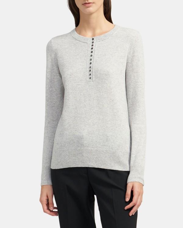 띠어리 헨리 스웨터, 100% 캐시미어 - 포그 Theory Henley Sweater in Cashmere K088707R