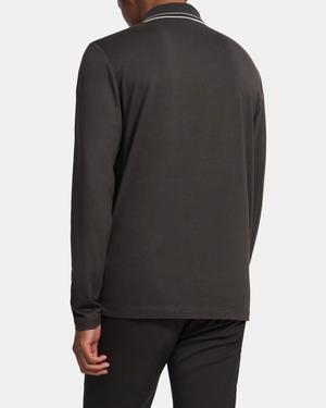 Long-Sleeve Polo Shirt in Silk-Cotton