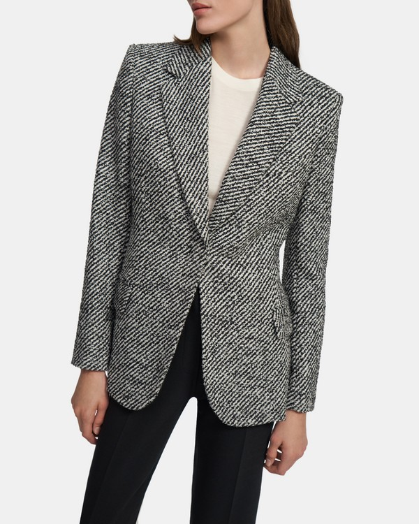 Fitted Blazer in Bouclé Tweed