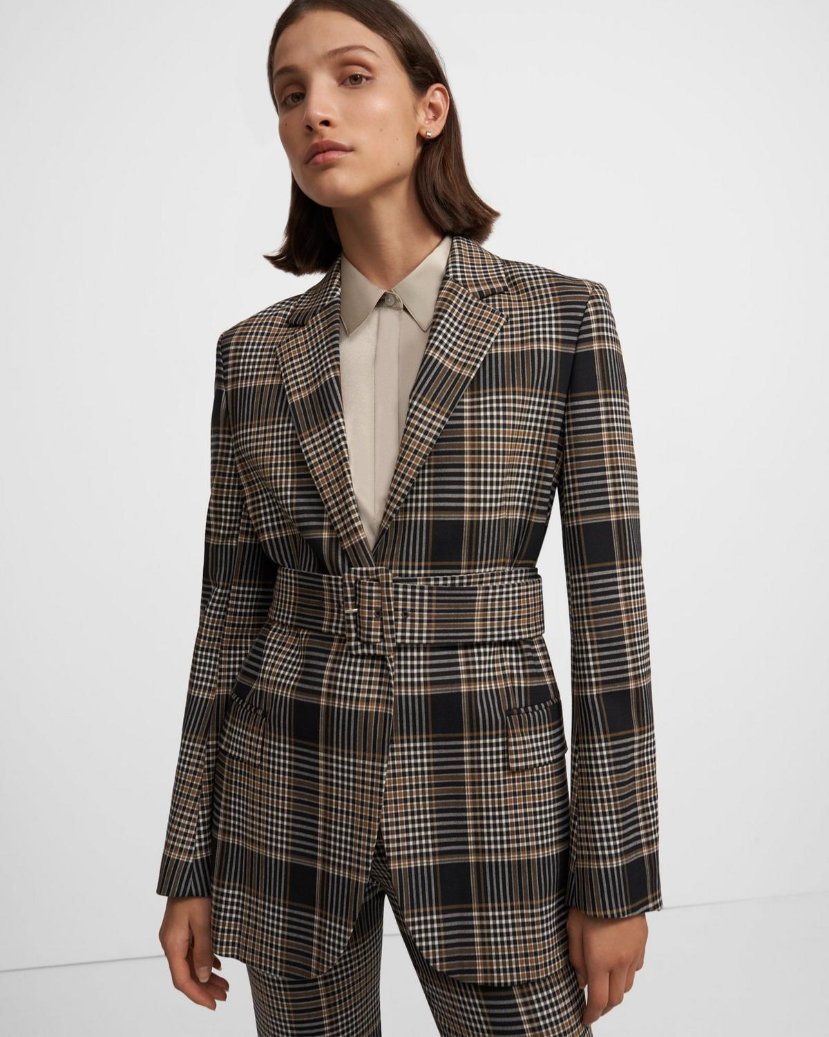 Belted Blazer in Plaid Wool