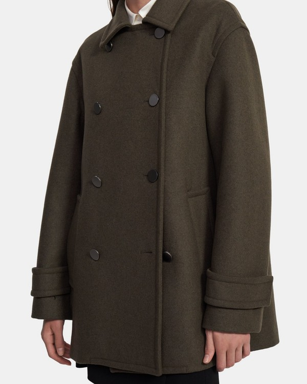 Utility Peacoat in Recycled Wool
