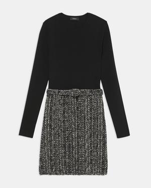 Long-Sleeve Knit Combo Dress in Tweed