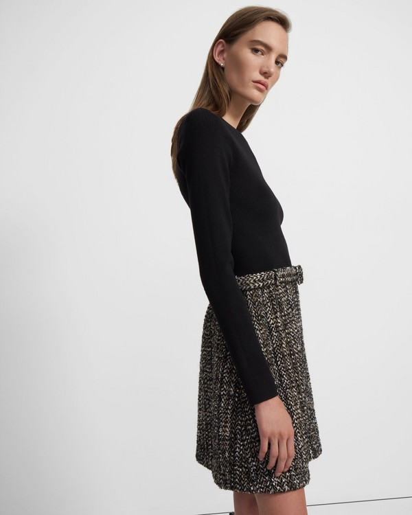 Long-Sleeve Knit Combo Dress in Tweed