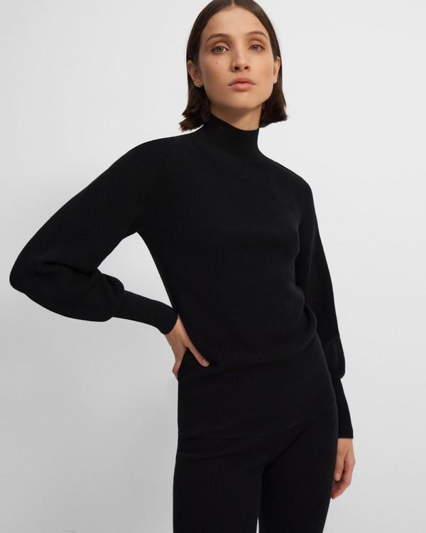 띠어리 Theory Mockneck Pullover in Wool-Cashmere,BLACK