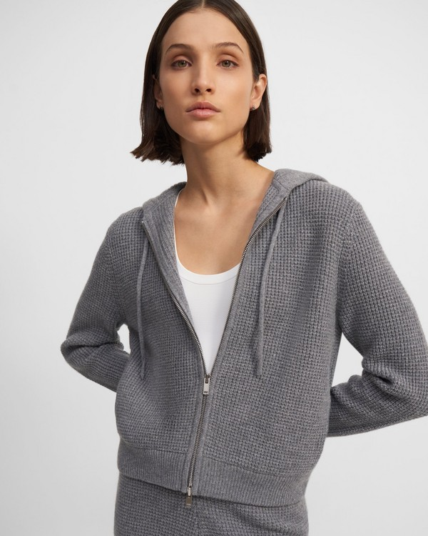 Zip Hoodie in Waffle-Knit Cashmere