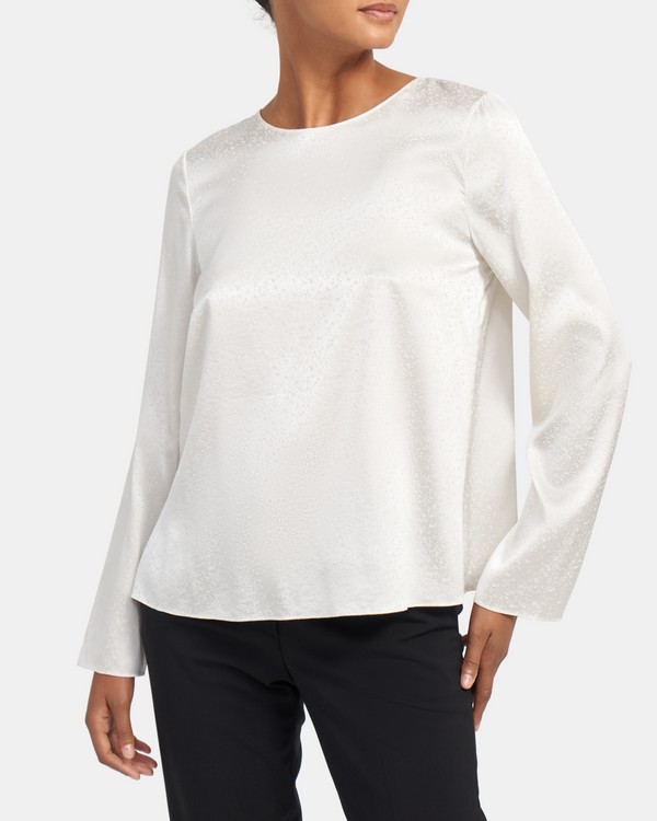 Simple Long-Sleeve Top in Stretch Silk