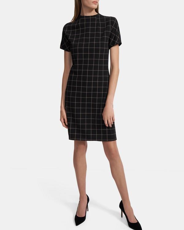 20FW 띠어리 돌먼 소매 쉬프트 원피스, 그리드 폰테 - 블랙 Theory Dolman-Sleeve Shift Dress in Grid Ponte