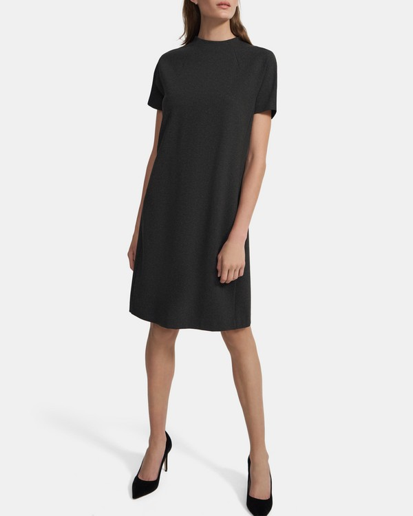 Dolman-Sleeve Shift Dress in Viscose Knit