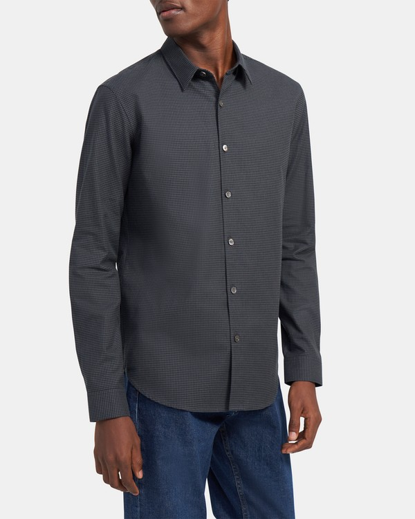 Long-Sleeve Shirt in Grid Flannel