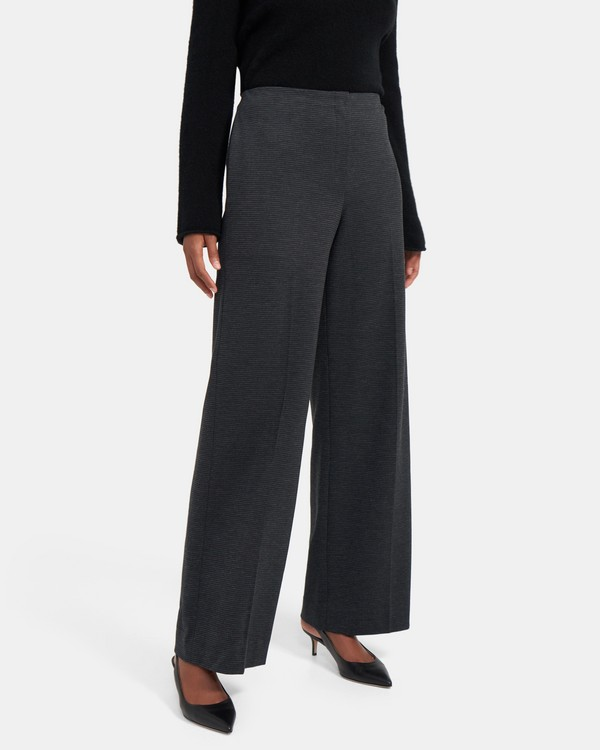 Wide-Leg Pant in Houndstooth Knit