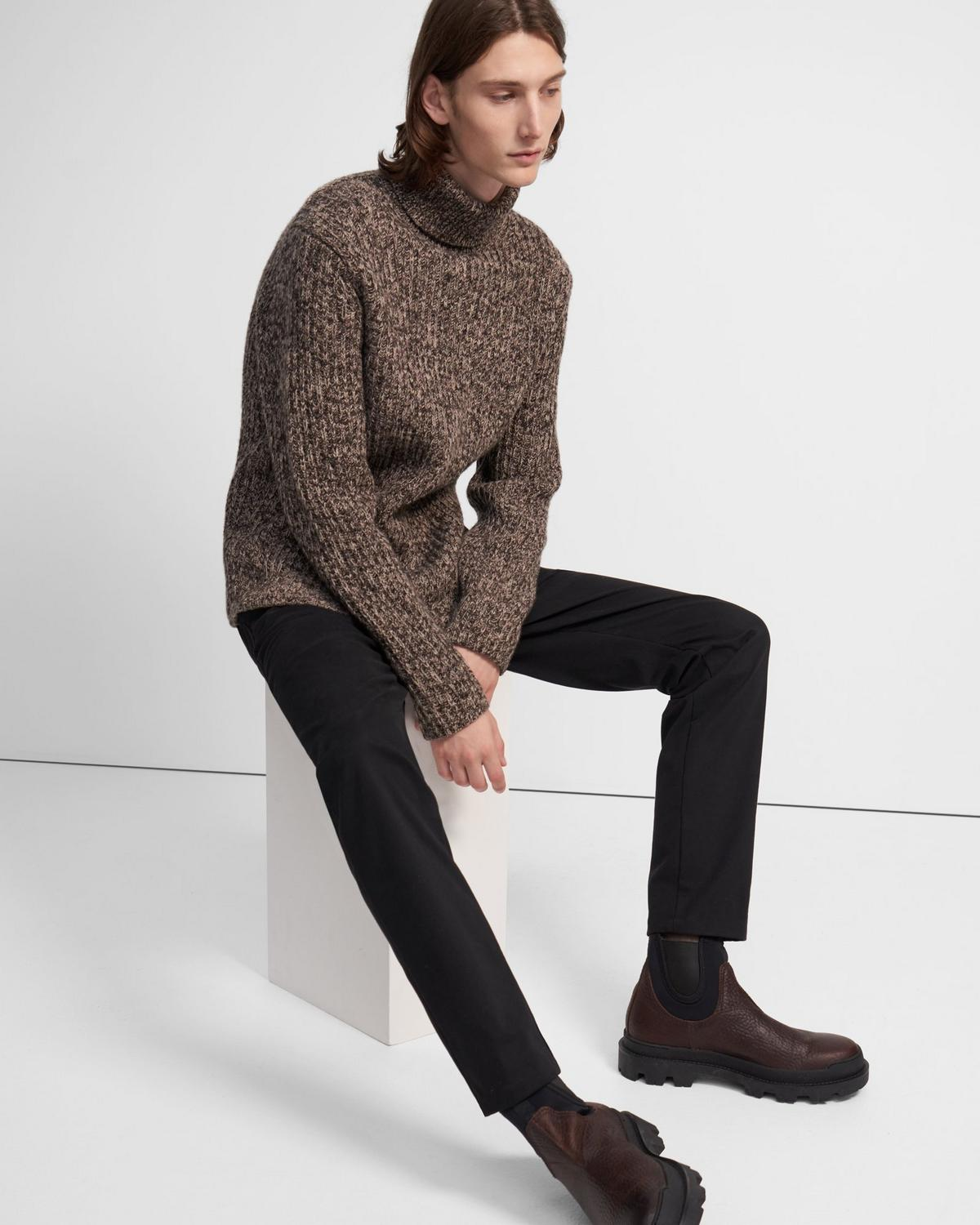 Turtleneck Sweater in Wool-Cashmere