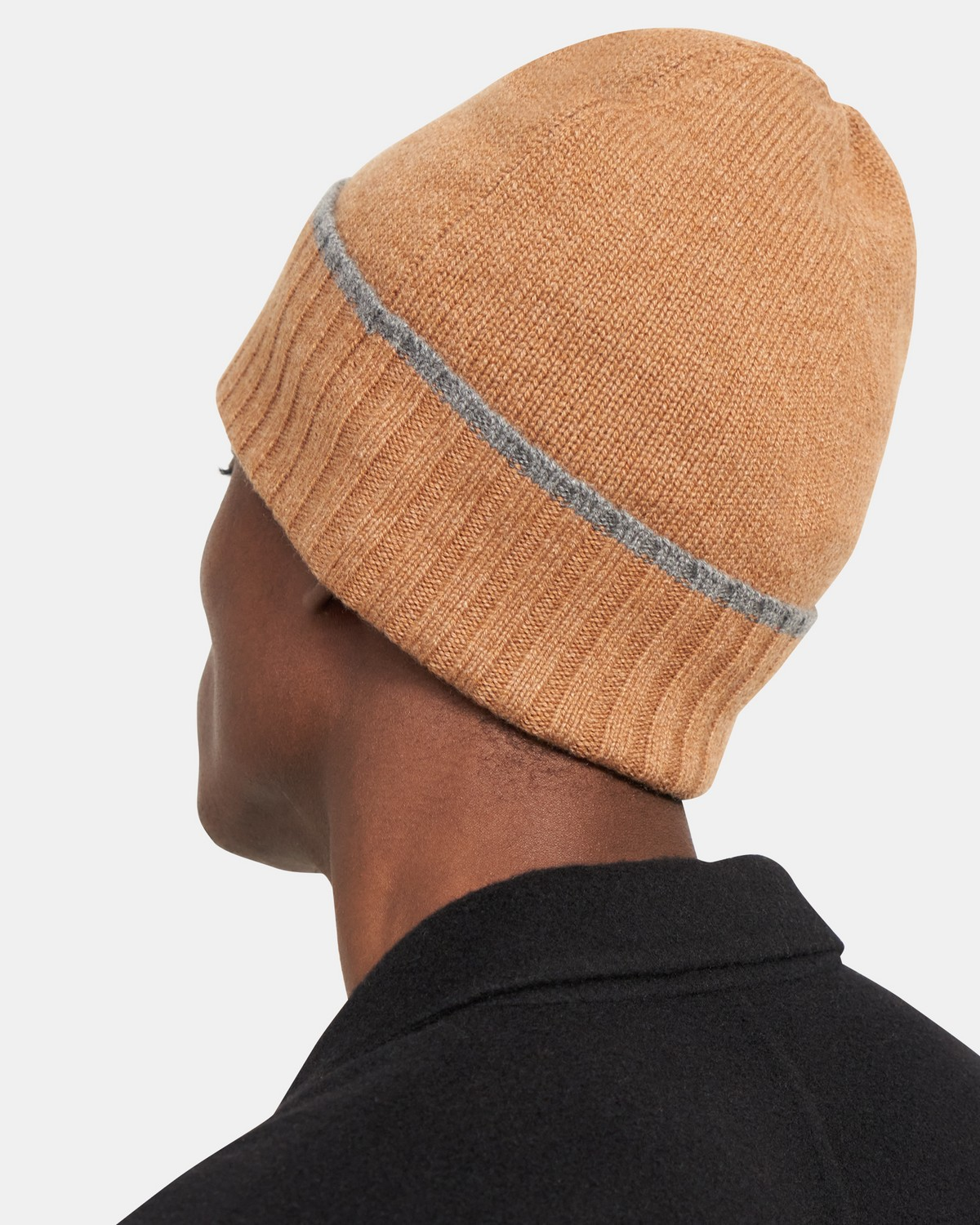 Ribbed Foldover Beanie in Cashmere